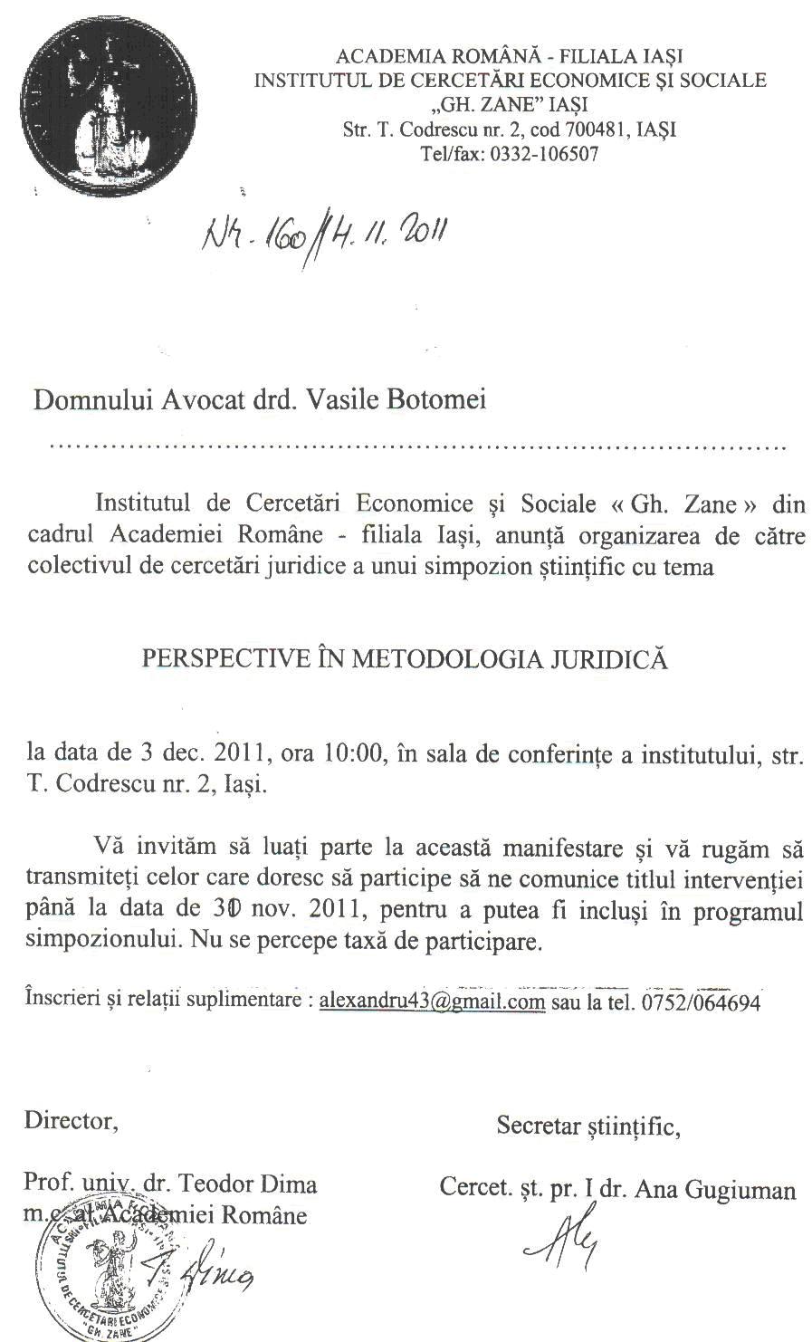 Tema simpozionului: Perspective in metodologia stiintifica