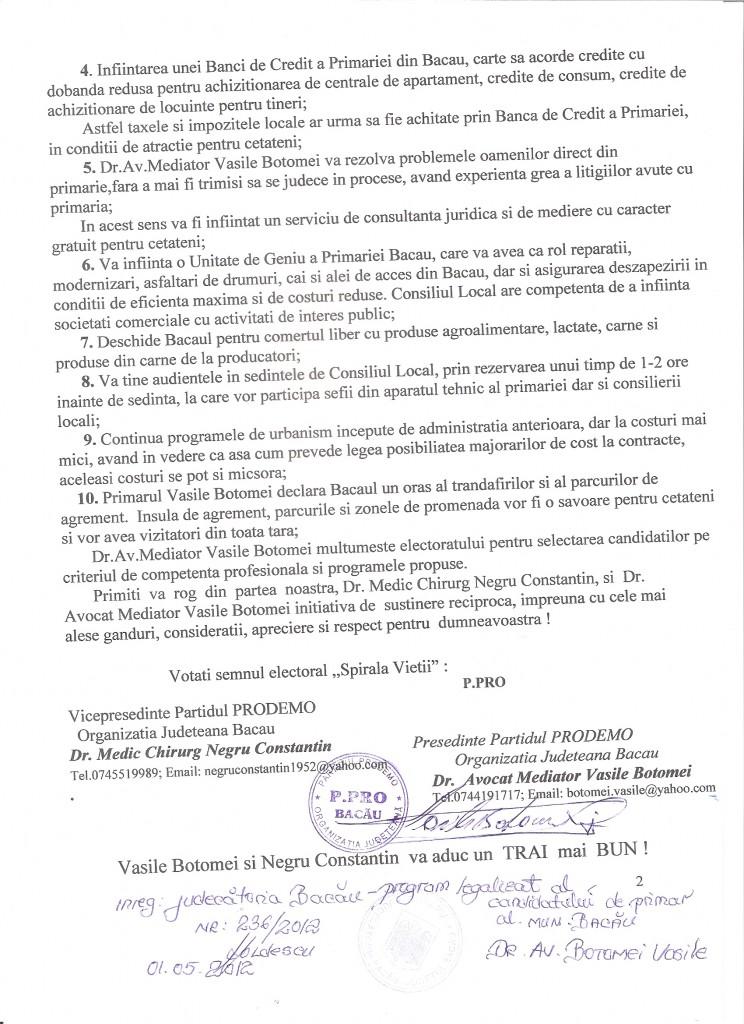 Program candidatura Botomei Vasile